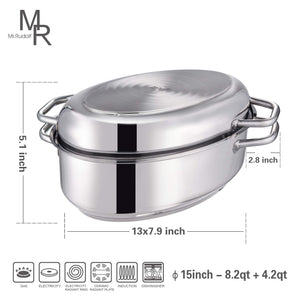 Mr Rudolf 18/10 Stainless Steel 15-inch Oval Roaster with Rack and Lid Dishwasher Safe Oven Safe Oval Roasting Pan PFOA Free 8.5 Quart + 4.2 Quart