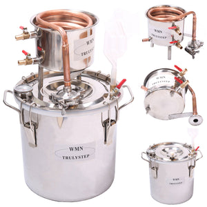DIY 2 Gal 10 Liters Home Distiller Moonshine Alcohol Still Stainless Boiler Copper Thumper Keg
