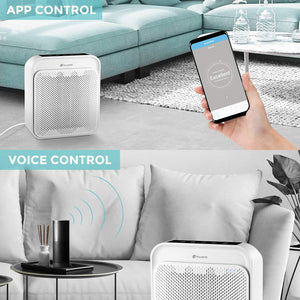 Air Purifier for Home with True HEPA Filter, Odor Eliminator Air Cleaner for Smokers, Dust, Home and Pets, WiFi/Voice/Remote Control, Ultra-Quiet Operation and Child Clock