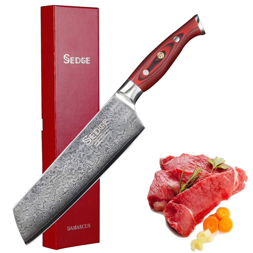 Sedge Kiritsuke Knife - Nakiri Vegetable Cleaver Kitchen Knife - Ergonomic G10 Handle with Gift Box - Japanese AUS-10 67 Layers High Carbon Damascus Stainless Steel - SD-S Series -7