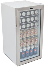 Load image into Gallery viewer, Whynter BR-128WS Lock, 120 Can Capacity, Stainless Steel Beverage Refrigerator, White