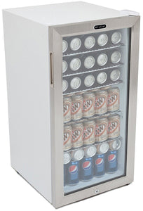 Whynter BR-128WS Lock, 120 Can Capacity, Stainless Steel Beverage Refrigerator, White