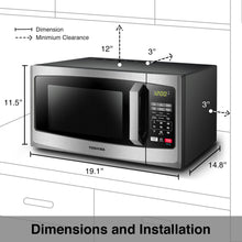 Load image into Gallery viewer, Toshiba EM925A5A-SS Microwave Oven with Sound On/Off ECO Mode and LED Lighting, 0.9 cu. ft, Stainless Steel