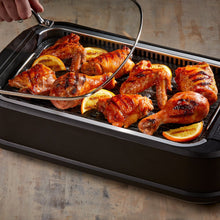 Load image into Gallery viewer, Power Smokeless Grill with Tempered Glass Lid with Interchangeable Griddle Plate and Turbo Speed Smoke Extractor Technology