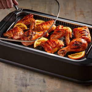 Power Smokeless Grill with Tempered Glass Lid with Interchangeable Griddle Plate and Turbo Speed Smoke Extractor Technology