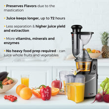 Load image into Gallery viewer, Mueller Austria Ultra Juicer Machine Extractor with Slow Cold Press Masticating Squeezer Mechanism Technology, 3 inch Chute accepts Whole Fruits and Vegetables, Easy Clean, Large, Nickel