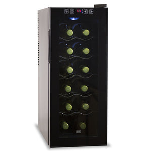 BLACK+DECKER 12 Bottle Capacity Thermoelectric Wine Cellar - Electronic Touch Controls & LED Display Cabinet with UV Glass Door & Interior Light, Black
