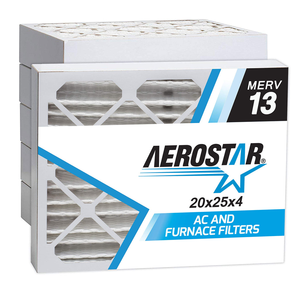 Aerostar 20x25x4 MERV 13 Pleated Air Filter, Made in the USA 19 1/2