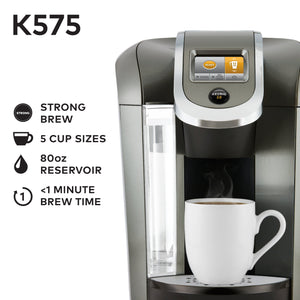 Keurig K575 Coffee Maker, Single Serve K-Cup Pod Coffee Brewer, Programmable Brewer, Platinum