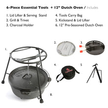 "Load image into Gallery viewer, CampMaid Dutch Oven Starter 6-Piece Set w/Accessories - Start Cast Iron Cooking Outdoors - 12"" Pre-Seasoned Dutch Oven, Lid Lifter, Carry Bag, Flip Grill, Charcoal Holder, Smoker Tools"