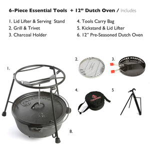 "CampMaid Dutch Oven Starter 6-Piece Set w/Accessories - Start Cast Iron Cooking Outdoors - 12"" Pre-Seasoned Dutch Oven, Lid Lifter, Carry Bag, Flip Grill, Charcoal Holder, Smoker Tools"