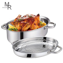 Load image into Gallery viewer, Mr Rudolf 18/10 Stainless Steel 15-inch Oval Roaster with Rack and Lid Dishwasher Safe Oven Safe Oval Roasting Pan PFOA Free 8.5 Quart + 4.2 Quart