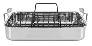 Viking Culinary 4013-5016 3-Ply Stainless Steel Roasting Pan with Nonstick Rack, 16 Inch x 13 Inch, Silver