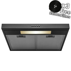 AKDY 24 in. 58 CFM Under Cabinet Convertible Range Hood in Black Painted Stainless Steel with Light