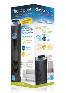 Envion by Boneco - Therapure TPP240 - Easy to Clean HEPA Type Air Purifier Tower - UV Germicidal Hemispheric Purification - Removes Odors, Smoke, Mold, Pet Dander & More - 343 Sq Ft Capacity