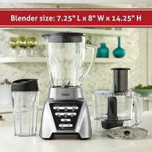 Load image into Gallery viewer, Oster Blender | Pro 1200 with Glass Jar, 24-Ounce Smoothie Cup and Food Processor Attachment, Brushed Nickel - BLSTMB-CBF-000
