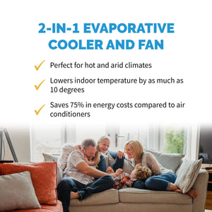 NewAir AF-310 Portable Evaporative Air Fan and Humidifier, Personal Indoor Outdoor Swamp Cooler