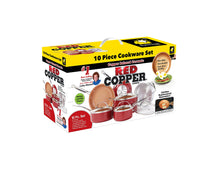 Load image into Gallery viewer, BulbHead (10824) Red Copper 10 PC Copper-Infused Ceramic Non-Stick Cookware Set