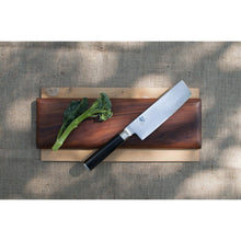 "Load image into Gallery viewer, Shun Cutlery Classic 6.5"" Nakiri Knife; Kitchen Knife Handcrafted in Japan; Hand-Sharpened 16° Double-Bevel Steel Blade for Swift and Easy Precision Work; Beautiful D-Shaped Ebony PakkaWood Handle"