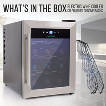 Load image into Gallery viewer, NutriChef 12 Bottle Thermoelectric Wine Cooler / Chiller | Counter Top Red And White Wine Cellar | FreeStanding Refrigerator, Quiet Operation Fridge | Stainless Steel - PKTEWC125