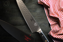 "Load image into Gallery viewer, DALSTRONG Chef's Knife - 10.25"" - Large - Shogun Series X Professional Gyuto - Damascus - Japanese AUS-10V Super Steel (Vacuum Heat Treated) 67-Layers - Hammered Finish - Sheath"