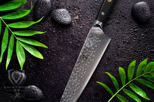 "DALSTRONG Chef's Knife - 10.25"" - Large - Shogun Series X Professional Gyuto - Damascus - Japanese AUS-10V Super Steel (Vacuum Heat Treated) 67-Layers - Hammered Finish - Sheath"