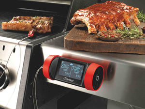 GrillEye GE0003 Pro Plus Grilling & Smoking Thermometer with Hybrid-Wireless Technology & Cloud Monitoring, Red Black