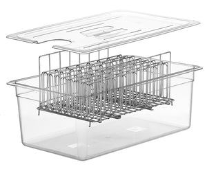 LIPAVI Sous Vide Rack - Model L20 - Marine Quality 316L Stainless Steel - Square 13.2 x 9.8 Inch - Adjustable, Collapsible, Ensures even and Quick warming - Fits LIPAVI C20 Container