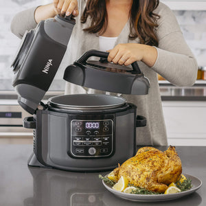 Ninja OP401 Foodi 8-Quart Pressure, Steamer, Air Fryer All-in-One Multi-Cooker, Black/Gray
