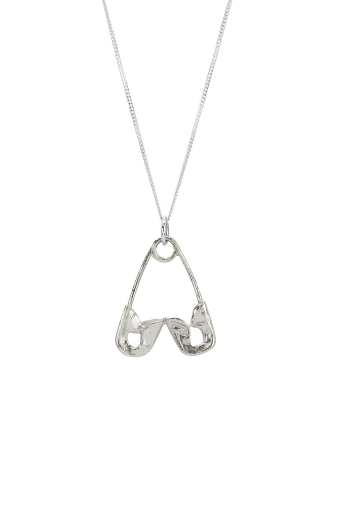 Safety Pin Heart Necklace - Silver