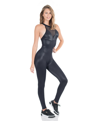 Black Metallic Jumpsuit - AVESSA