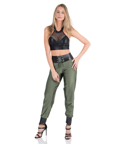 Metallic Jogging Leggings - Forest Green - AVESSA
