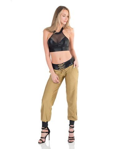 Metallic Jogging Leggings - Solid Gold - AVESSA