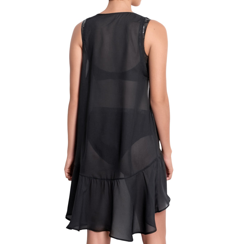 ISABELLE long back dress, black chiffon cover up by ALMA swimwear – back view