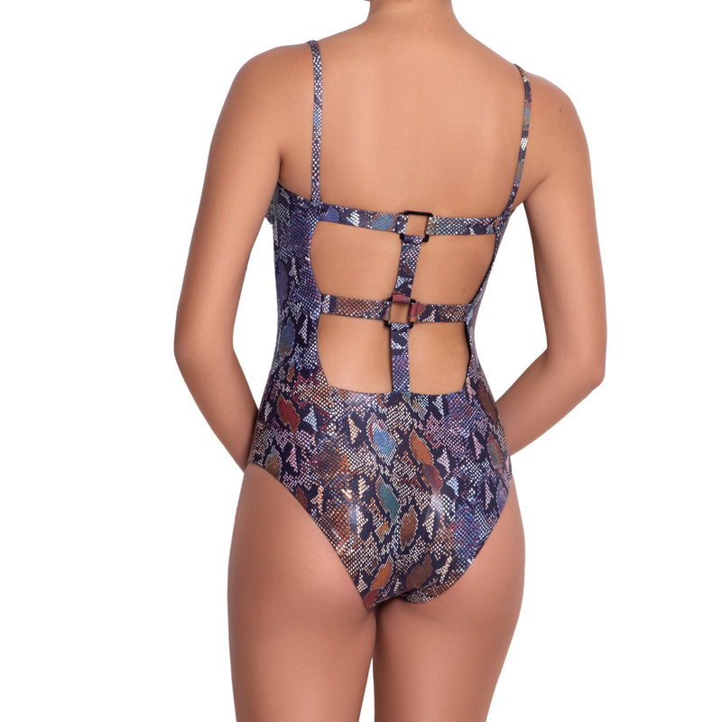 MARION maillot one piece, printed swimsuit  by ALMA swimwear – back view