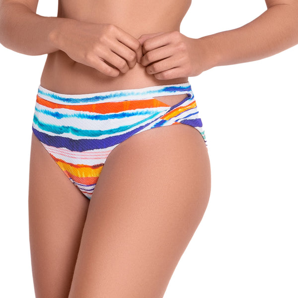 AUDREY medium rise panty, printed bikini bottom by ALMA swimwear – front view 2