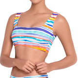 AUDREY square neck bra, printed bikini top by ALMA swimwear - front view 2