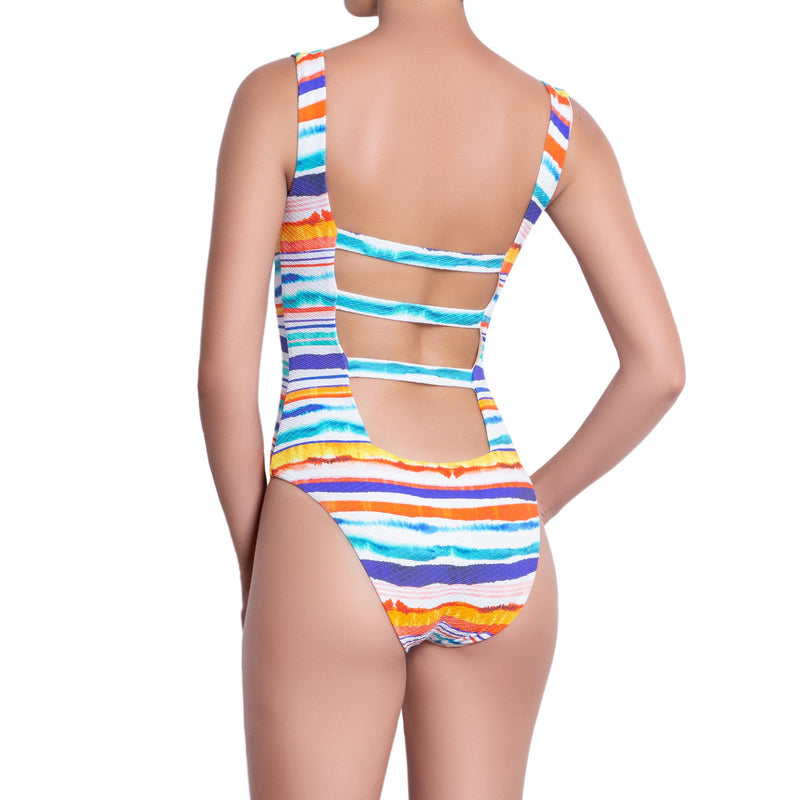 AUDREY square neck  one piece, printed swimsuit – back view