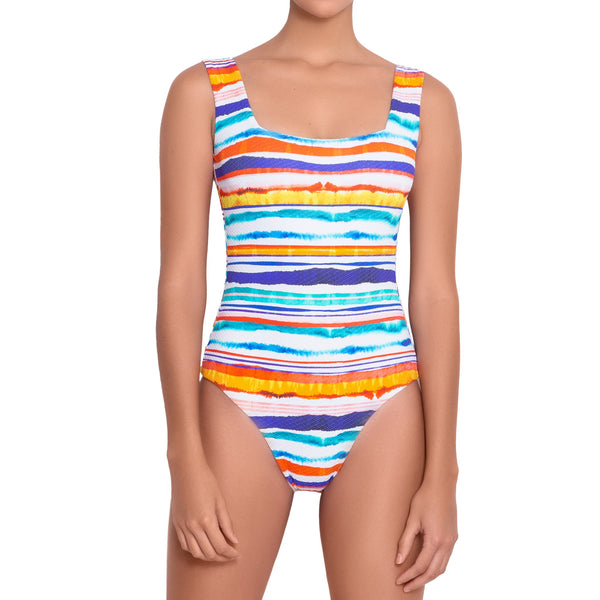 AUDREY square neck  one piece, printed swimsuit by french luxury swimwear brand:  ALMA – front view 1
