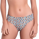 BÉRÉNICE knotted belt panty, printed bikini bottom by ALMA swimwear – front view 2