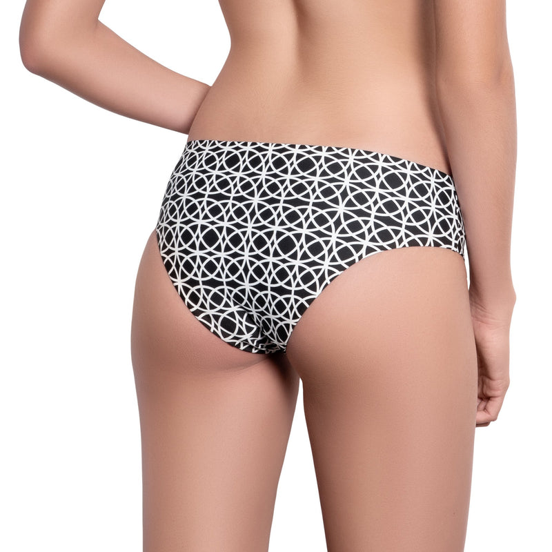 BRIGITTE classic panty, printed bikini bottom by ALMA swimwear – back view