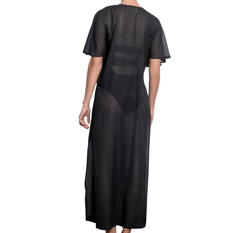 BRIGITTE long kaftan, black cover up by ALMA swimwear – back view