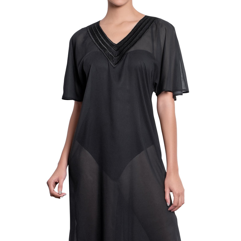 BRIGITTE long kaftan, black cover up by ALMA swimwear – front view 1