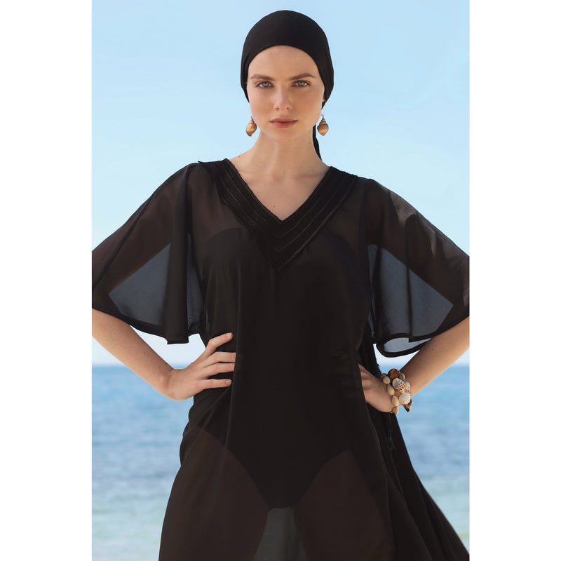 BRIGITTE long kaftan, black cover up by french luxury swimwear brand:  ALMA – lookbook 1