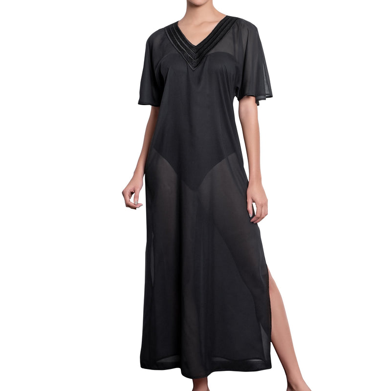 BRIGITTE long kaftan, black cover up by ALMA swimwear – front view 2