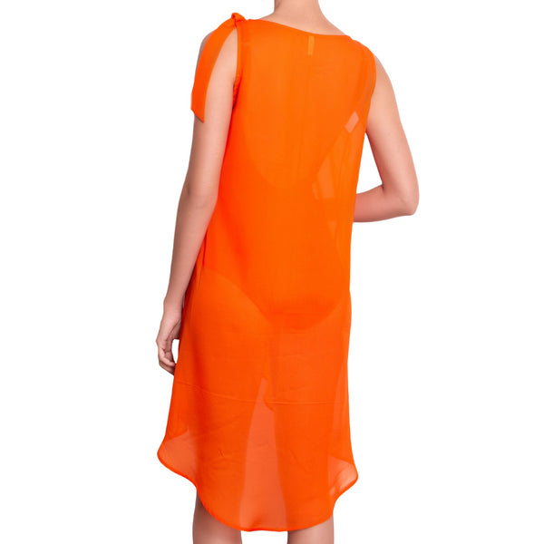 EVA crossed dress, orange chiffon cover up by ALMA swimwear – front view 3