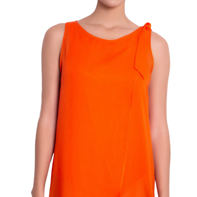 EVA crossed dress, orange chiffon cover up by ALMA swimwear – front view 1
