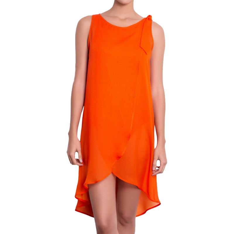 EVA crossed dress, orange chiffon cover up by ALMA swimwear - front view 2