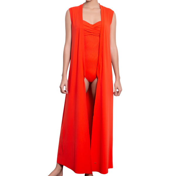 JULIETTE sleeveless kimono, orange cover up by ALMA swimwear – front view 2