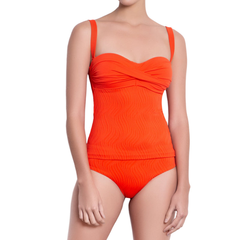 JULIETTE bandeau tankini, textured orange top by ALMA swimwear – front view 1
